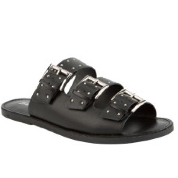 eebedd494e92 SODA black silver stud 3 buckle Slide Sandals